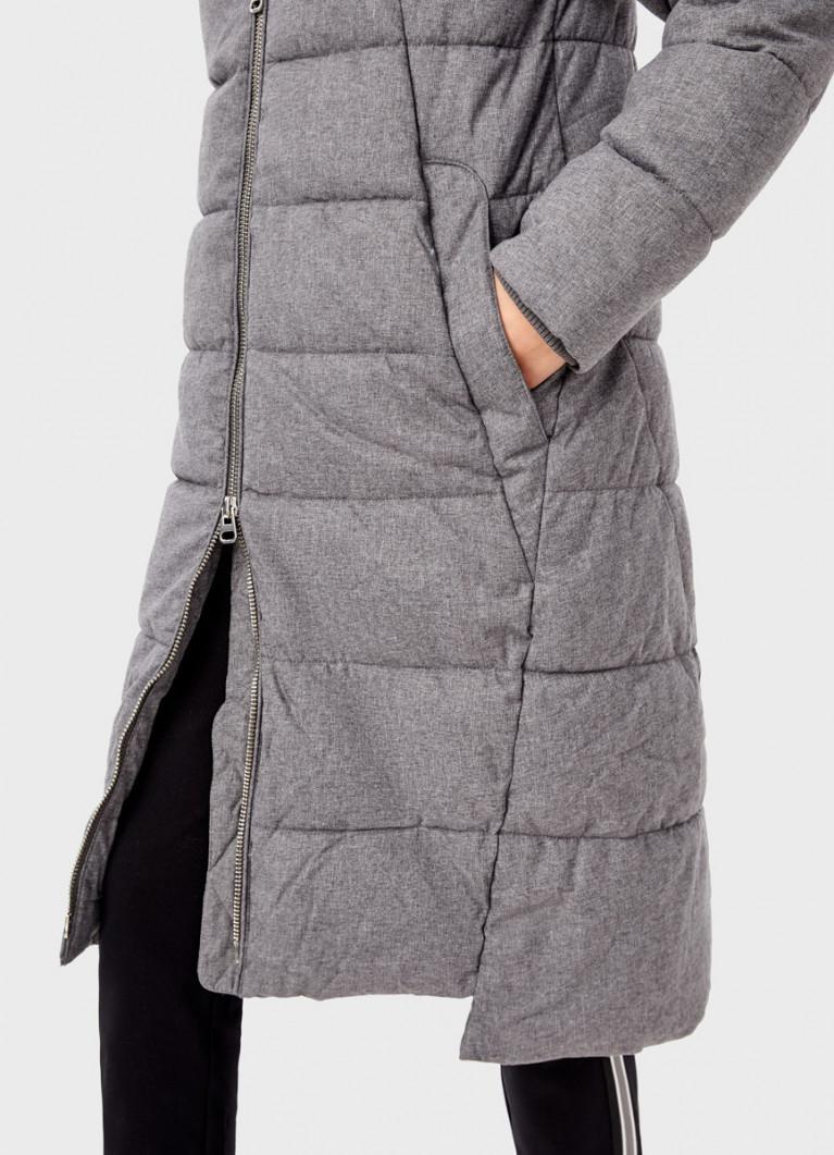 Длинное прямое пальто с капюшоном
