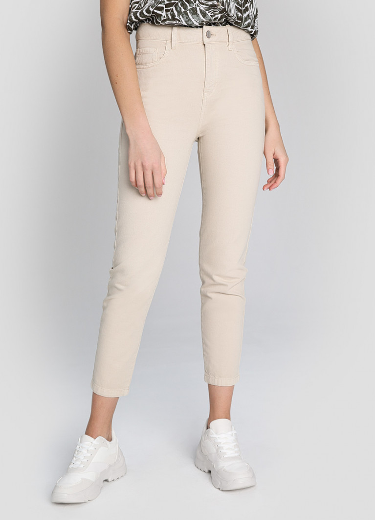 Женские джинсы O'Stin Джинсы MOM в бежевой стирке