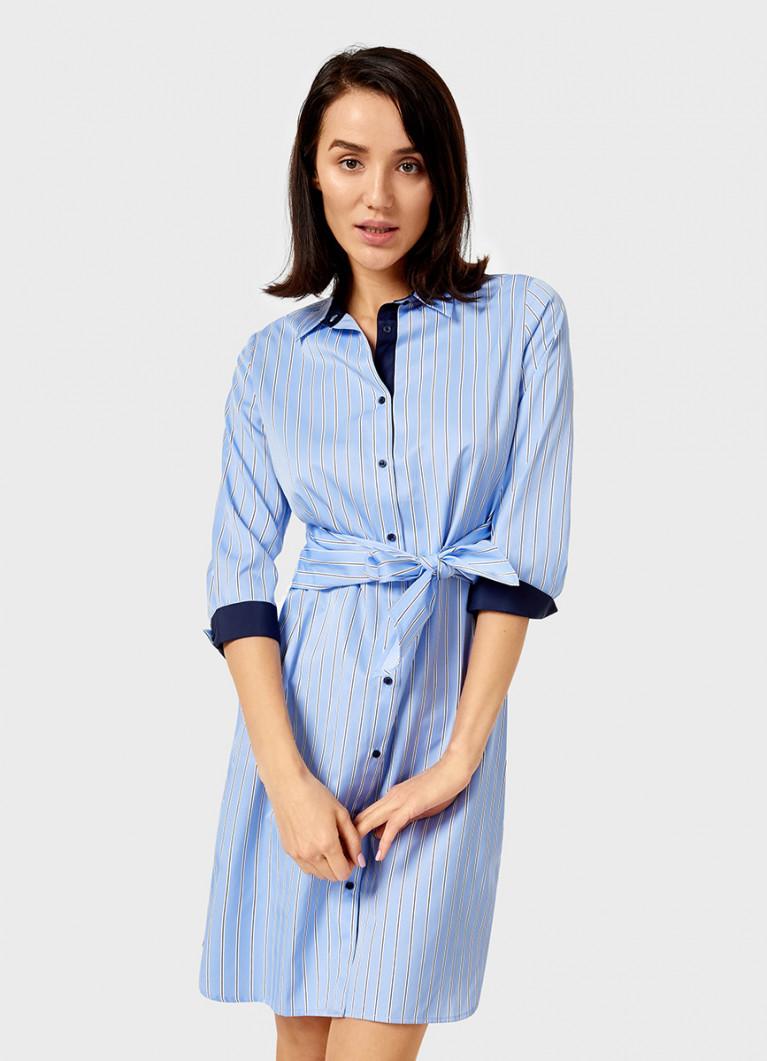 Платье-рубашка в полоску с поясом