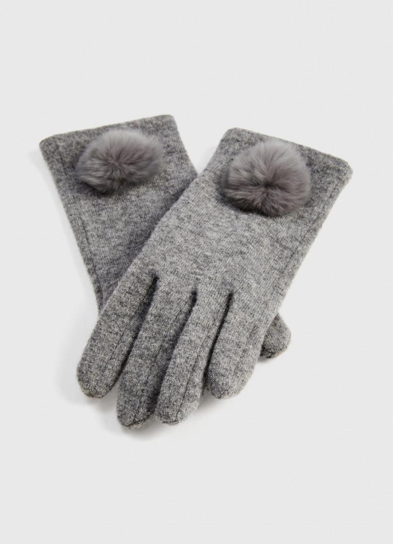 Шерстяные перчатки с мехом кролика