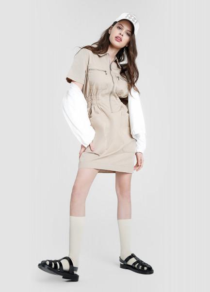 Платье-рубашка с молнией