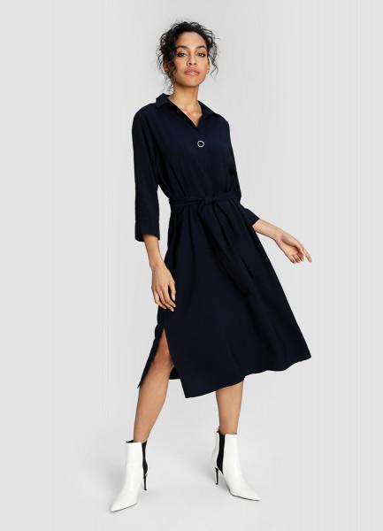 Платье-туника из структурной вискозы с кнопкой на планке