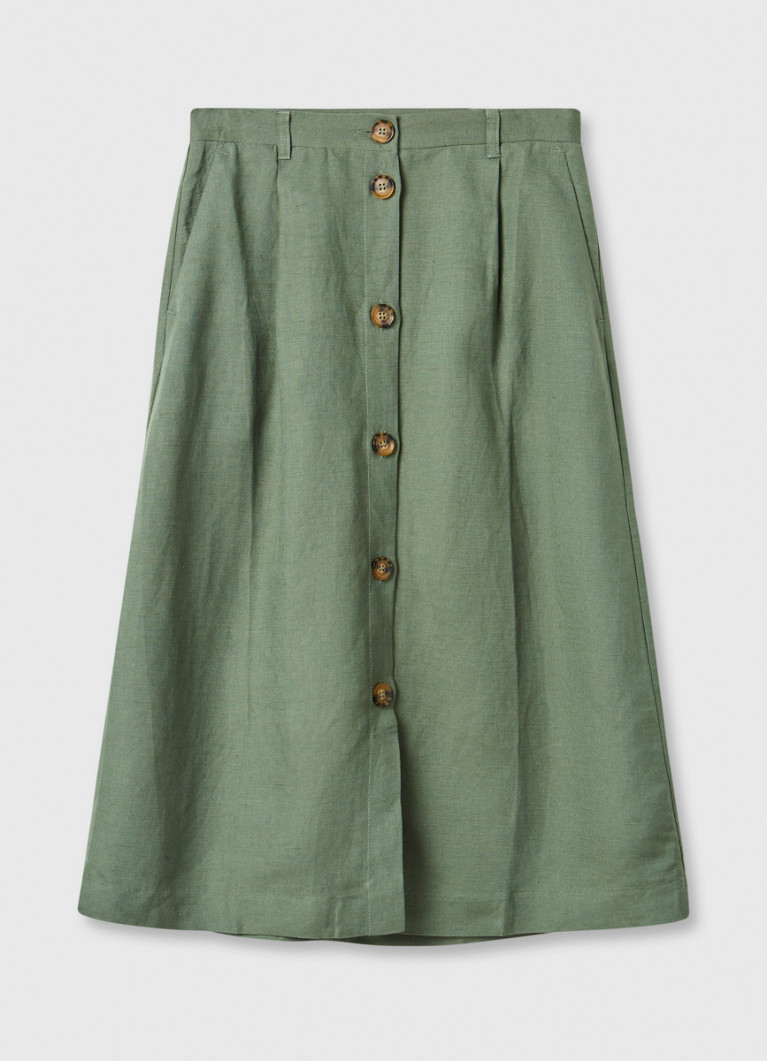 Льняная юбка с застёжкой на пуговицы