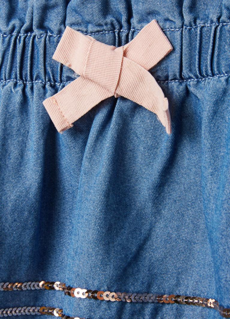 Юбка O'Stin Джинсовая юбка с вышивкой пайетками