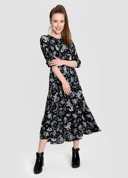Принтованное платье миди
