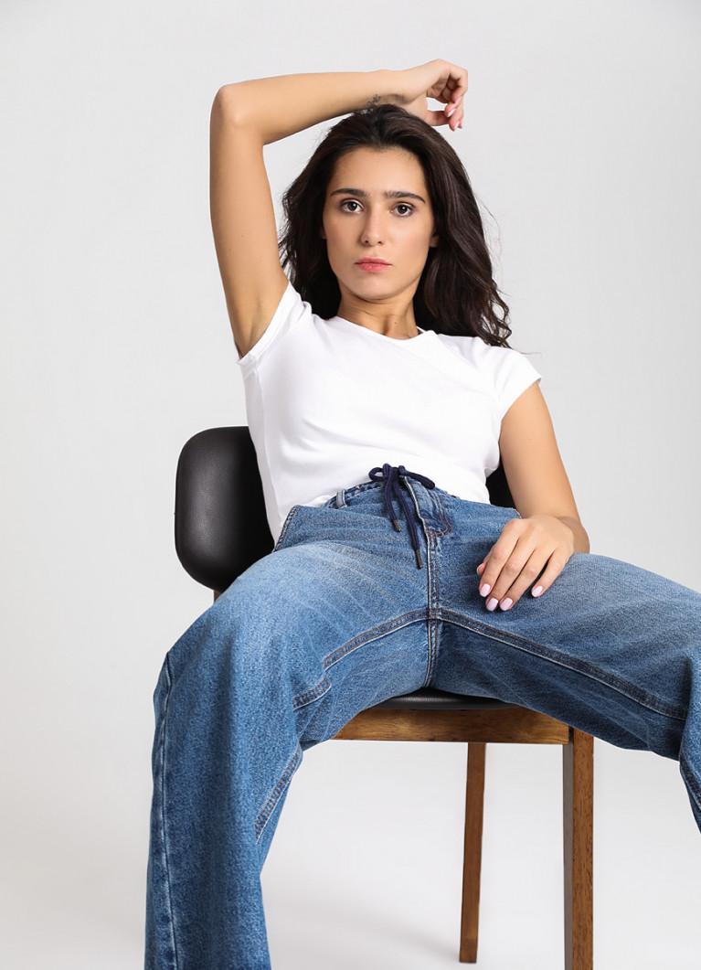 Женские джинсы O'Stin Прямые джинсы с высокой посадкой и шнурком на поясе