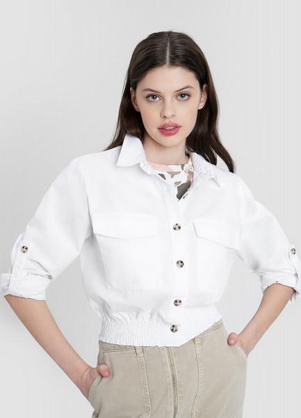 Хлопковая рубашка с эластичным поясом