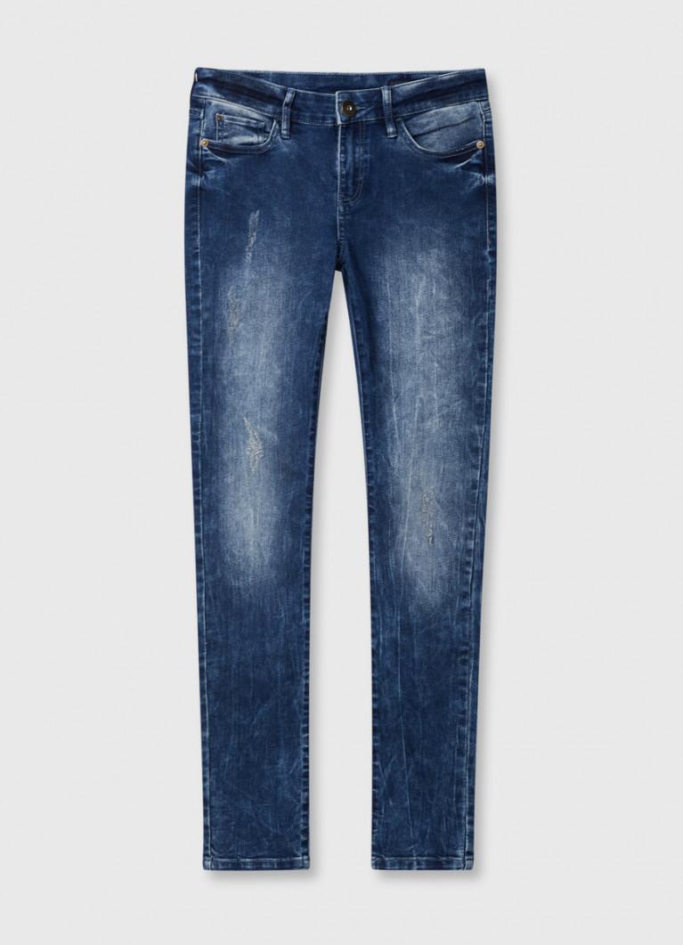 Суперузкие джинсы с винтажной стиркой