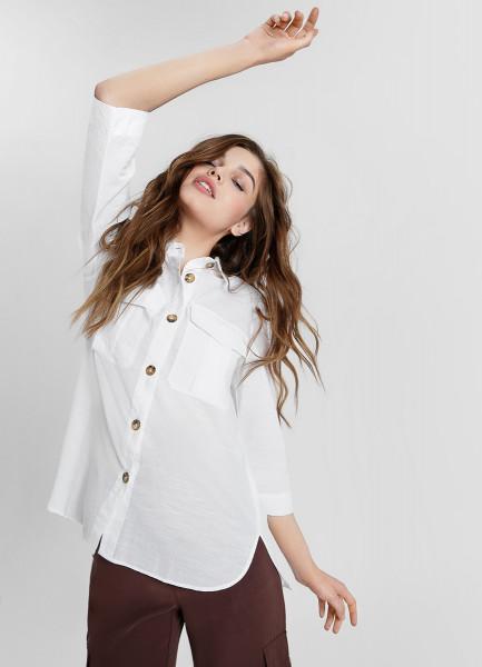 Рубашка с накладными карманами из структурной ткани
