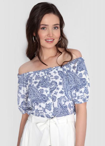 Структурная блузка с открытыми плечами