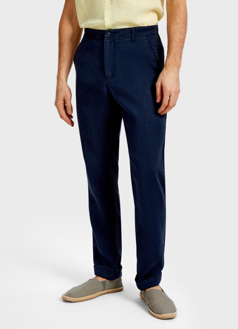 Однотонные брюки изо льна