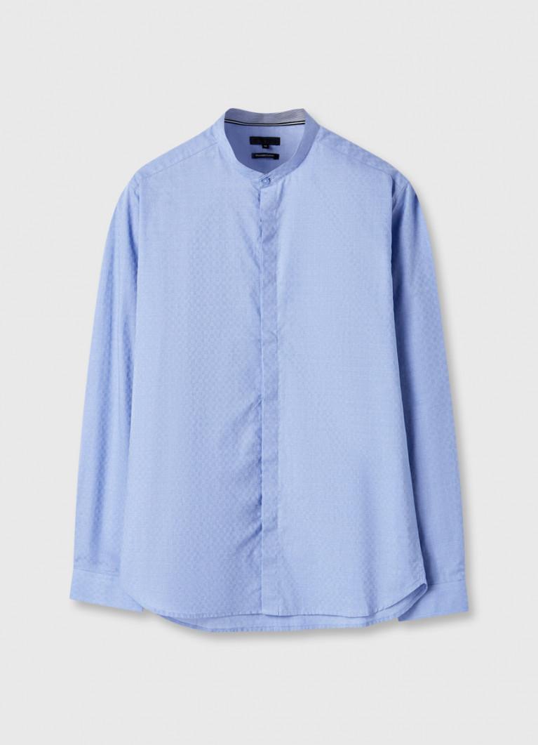 Рубашка в микрополоску с жаккардом