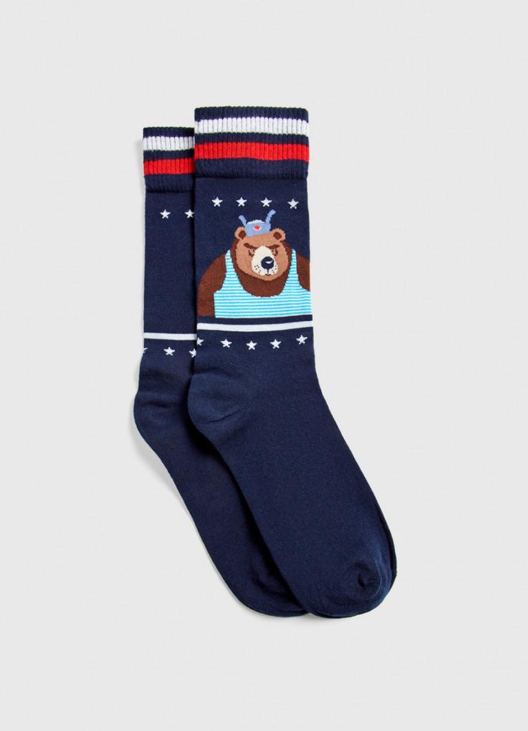 Носки с жаккардом «медведь»