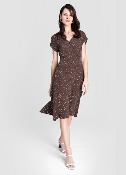 Платье в горошек из креповой вискозы