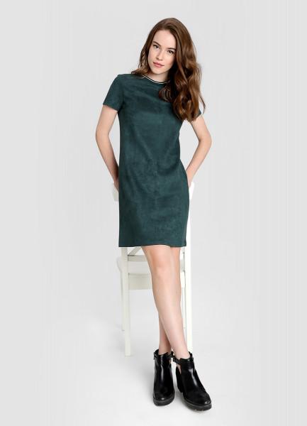 Платье А-силуэта из замши