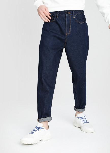 Широкие синие джинсы фото