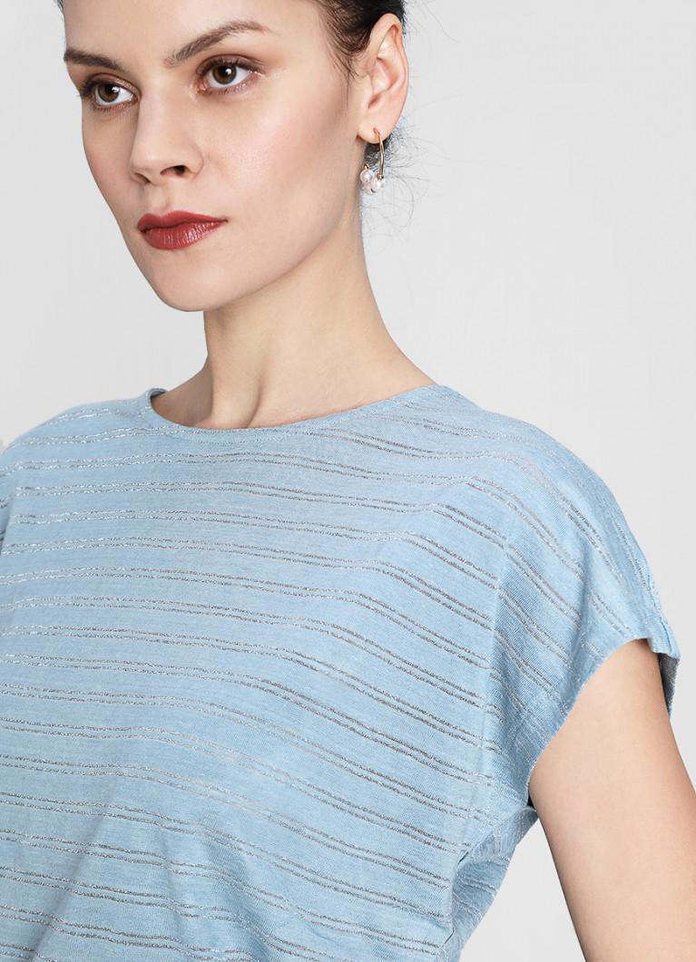 Льняная футболка с люрексом