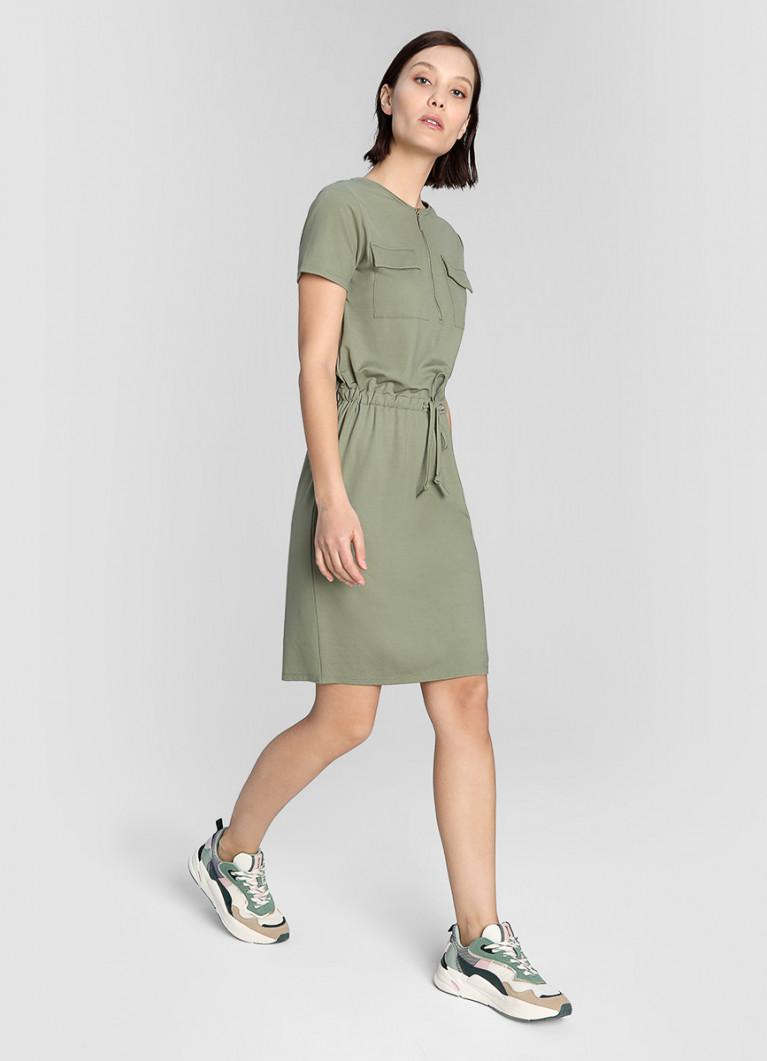 Трикотажное платье с кулиской