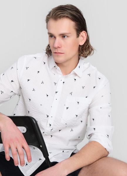 Рубашка из жатого хлопка с принтом