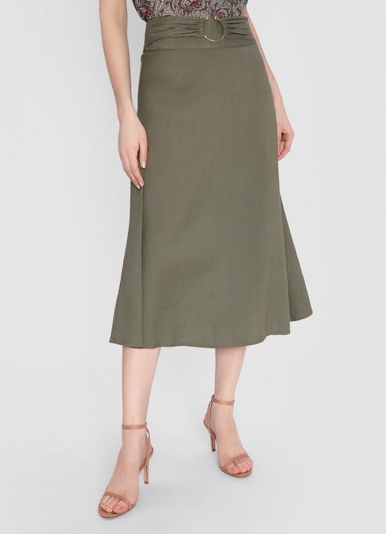 Льняная юбка А-силуэта с поясом