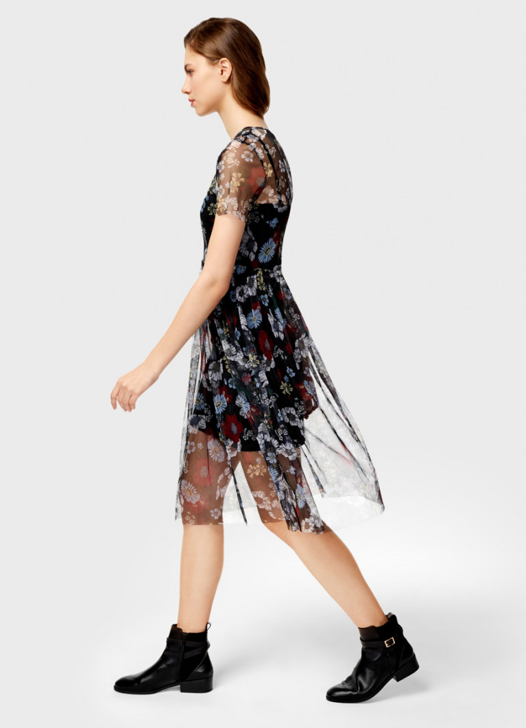 Платье из сетки в цветочный принт