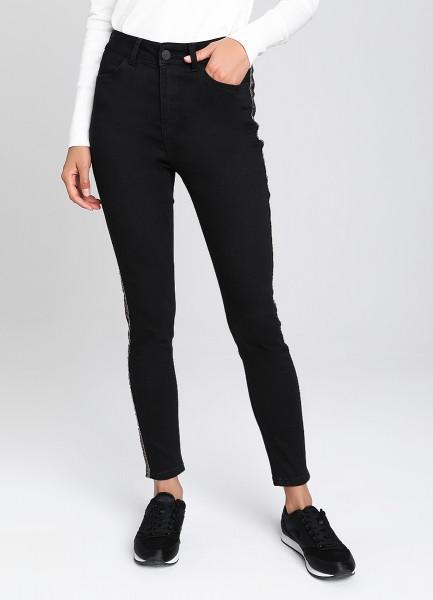 Зауженные джинсы с лампасами