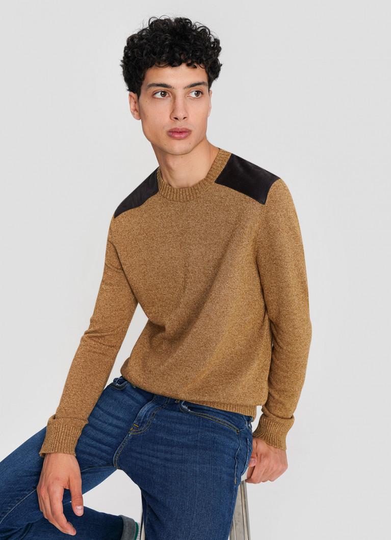 Джемпер тонкой вязки с контрастными плечами