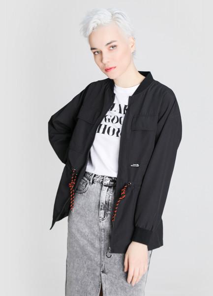Удлинённая куртка с накладными карманами
