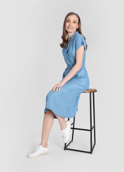 Двубортное платье из тенселя