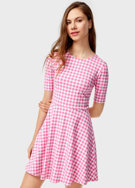 Розовое Клетчатое Платье