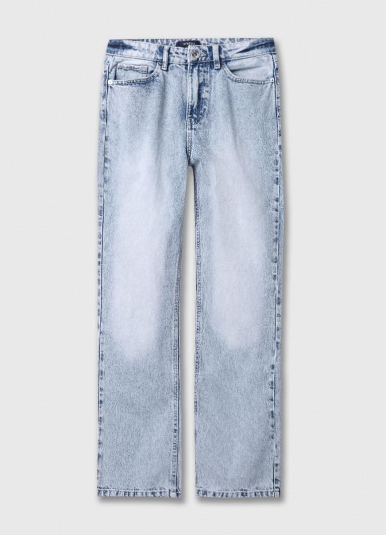 Прямые светло-голубые джинсы с высокой посадкой