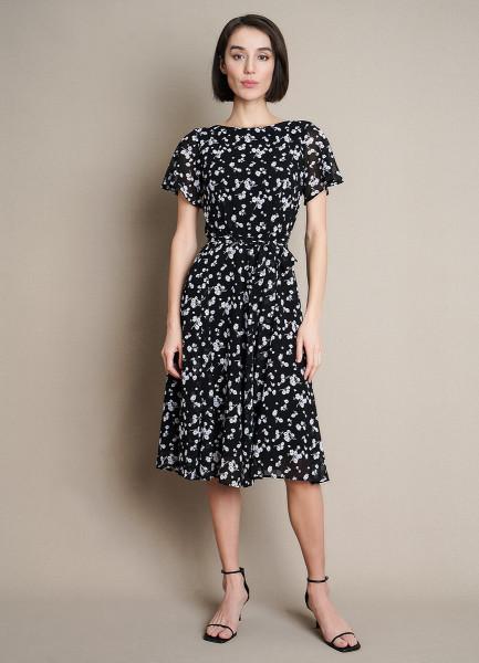 Платье из шифона в принт
