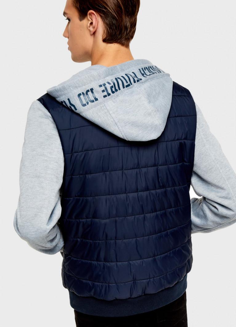 Куртка-бомбер с трикотажными рукавами