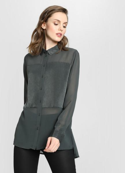 Блузка из шифона с атласной вставкой фото