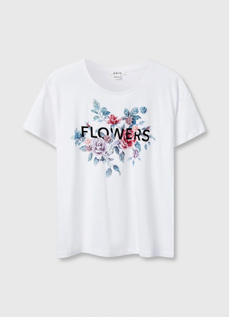 Футболка с принтом «цветы»