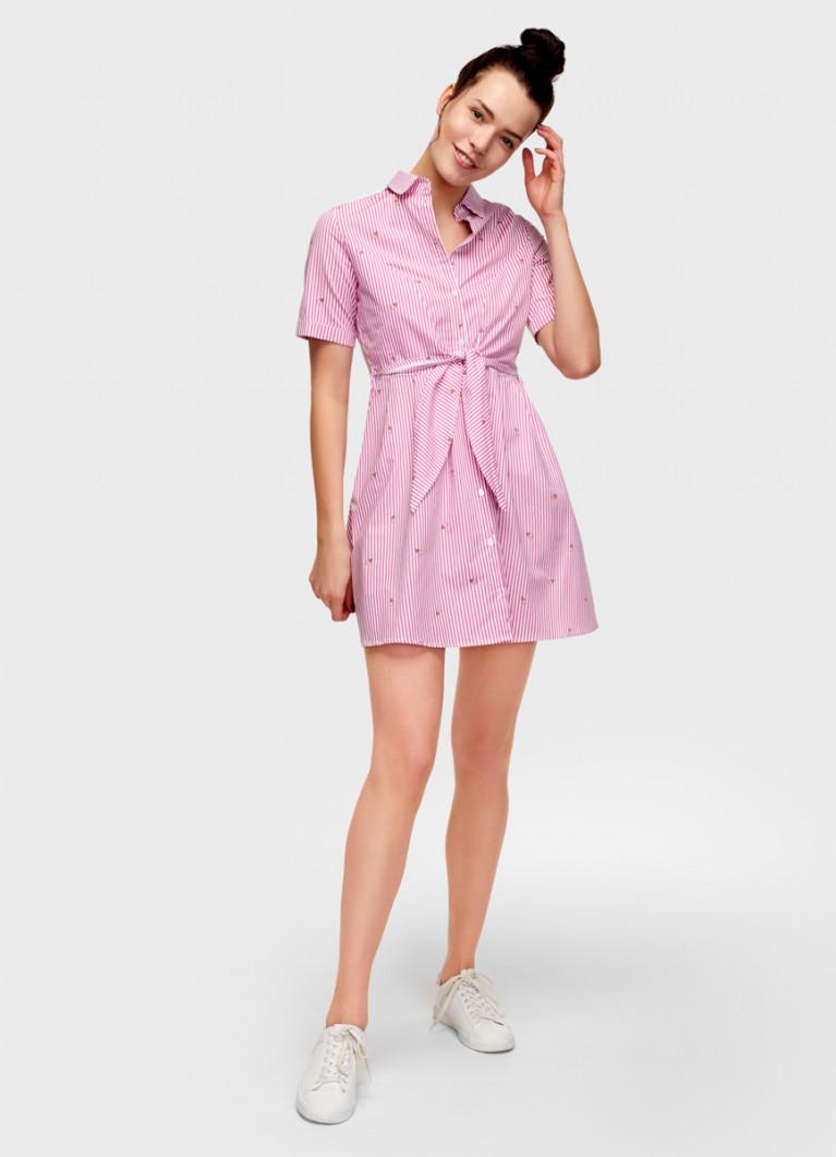 Платье-рубашка с узлом