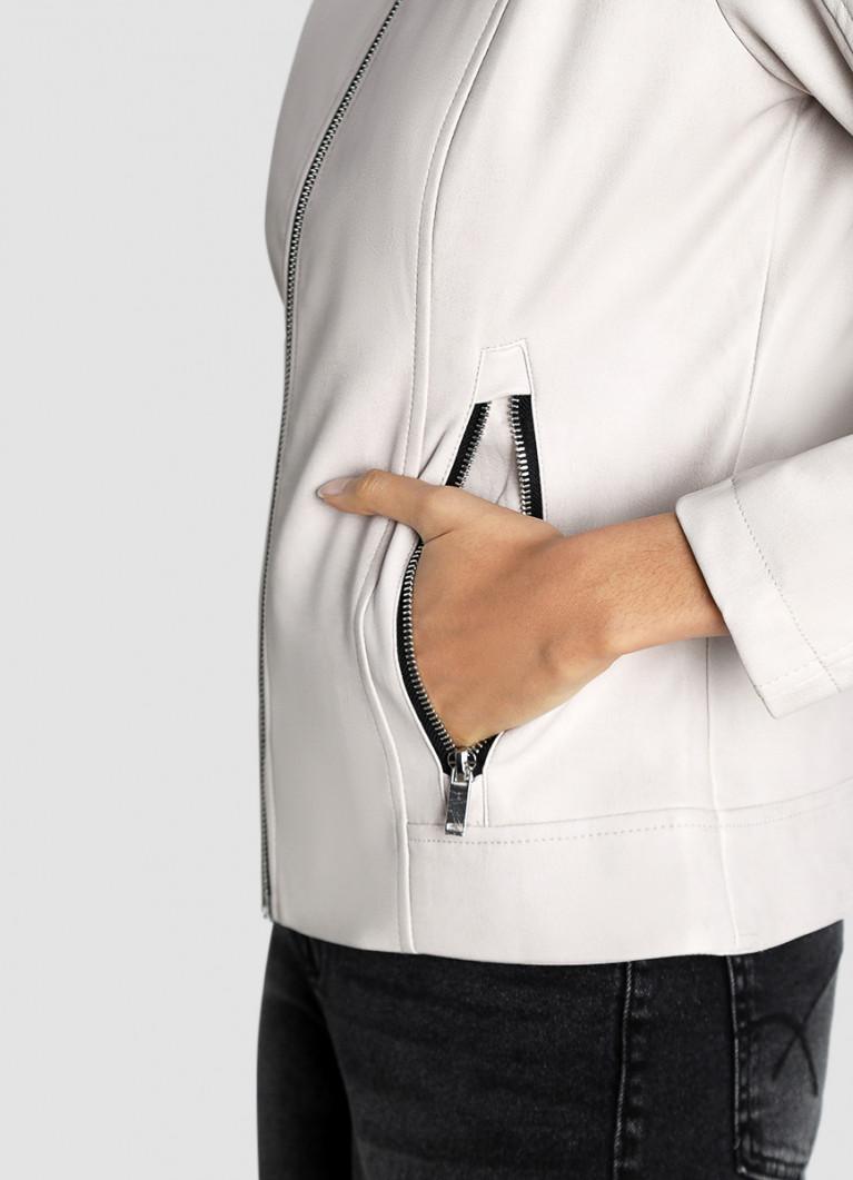 Куртка из искусственной кожи с воротником-стойкой