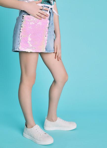 Джинсовая юбка с пайетками фото
