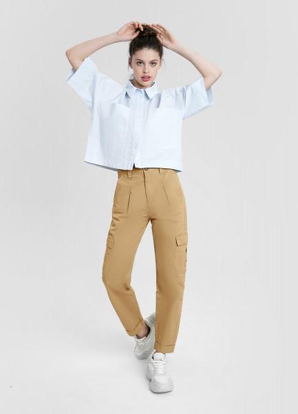 Хлопковые брюки с завышенной талией