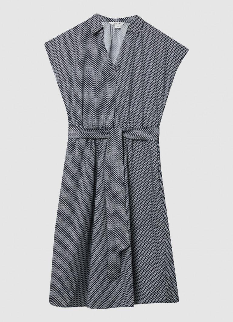 Хлопковое платье на поясе