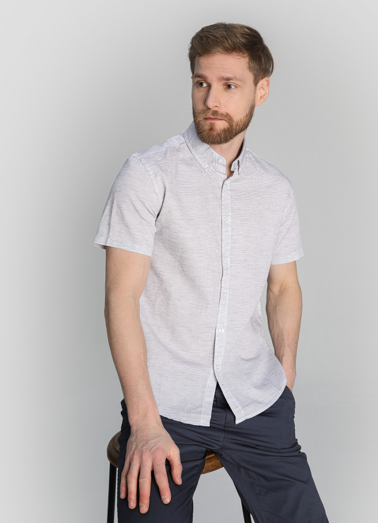 Рубашка в микроячейку с протяжками