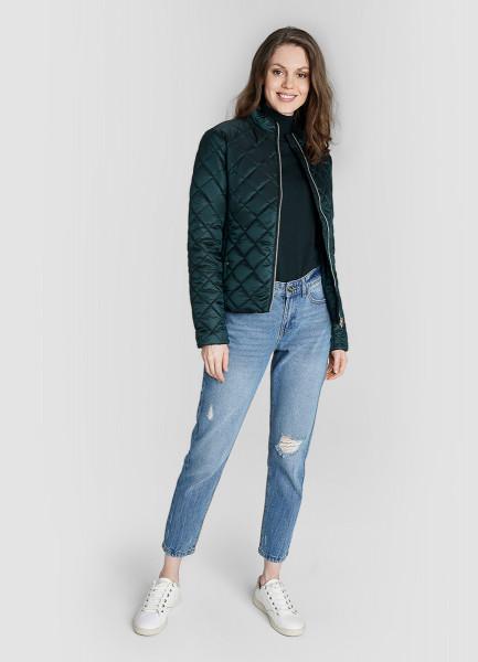Короткая куртка с воротником-стойкой и ромбовидной стёжкой