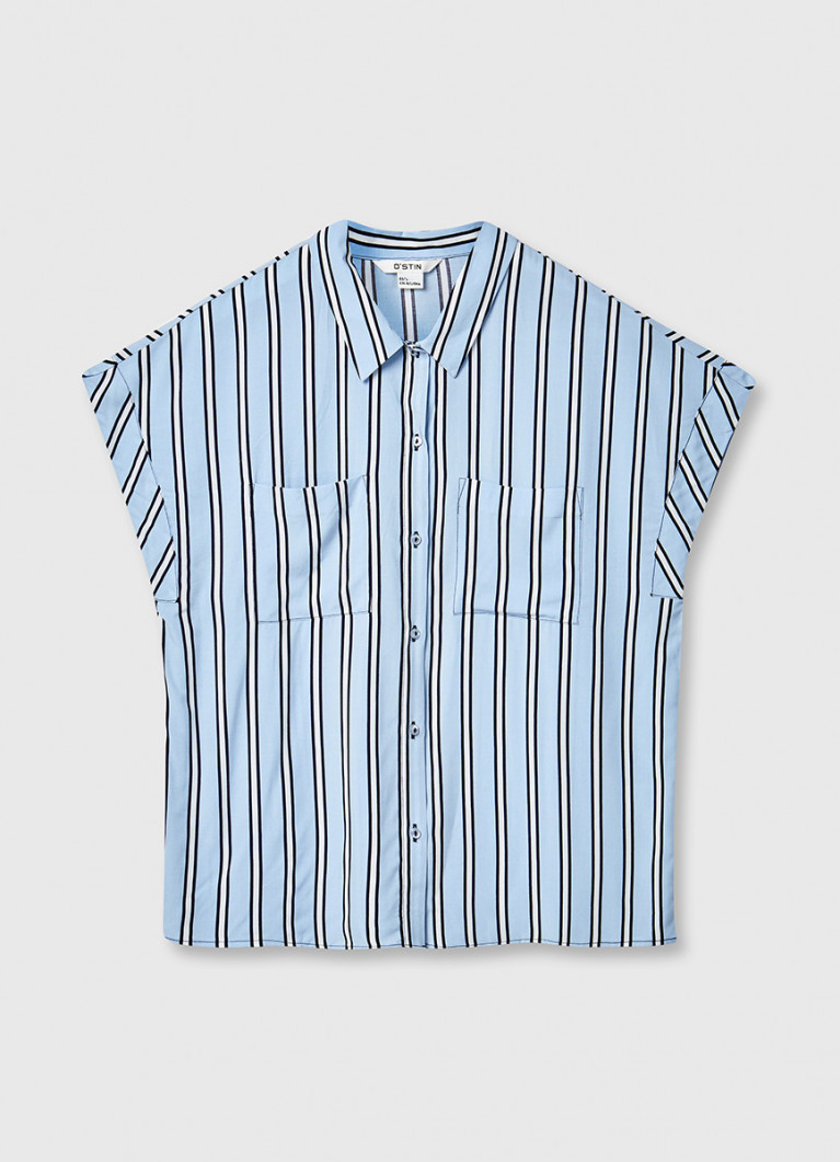 Вискозная рубашка в полоску