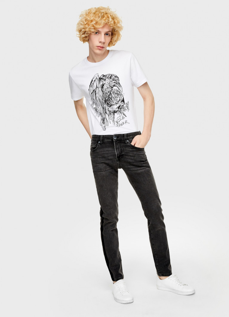 Мужские джинсы O'Stin Чёрные суперузкие джинсы с лампасами