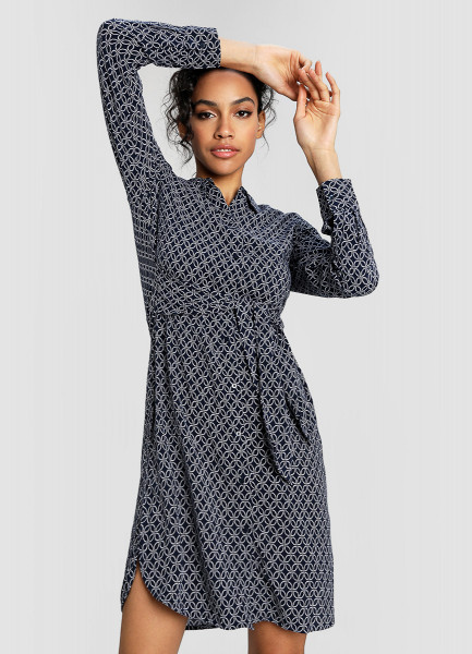Вискозное платье-рубашка в морской принт