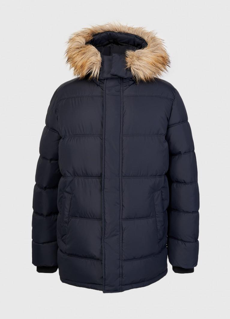 Стёганая куртка на объёмном утеплителе с капюшоном