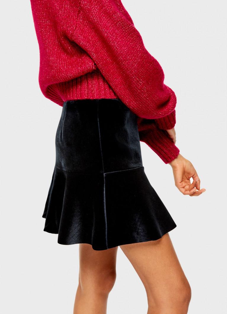 Бархатная юбка с воланом