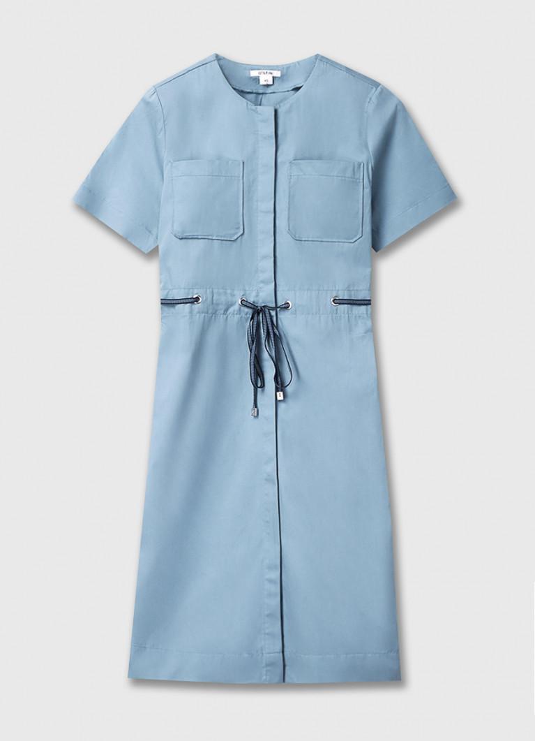 Платье-рубашка из хлопка на кулиске