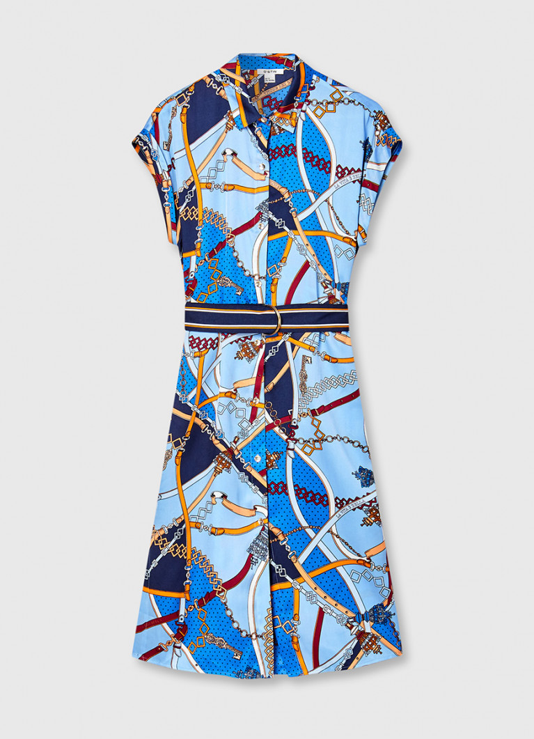 Платье-рубашка с принтом