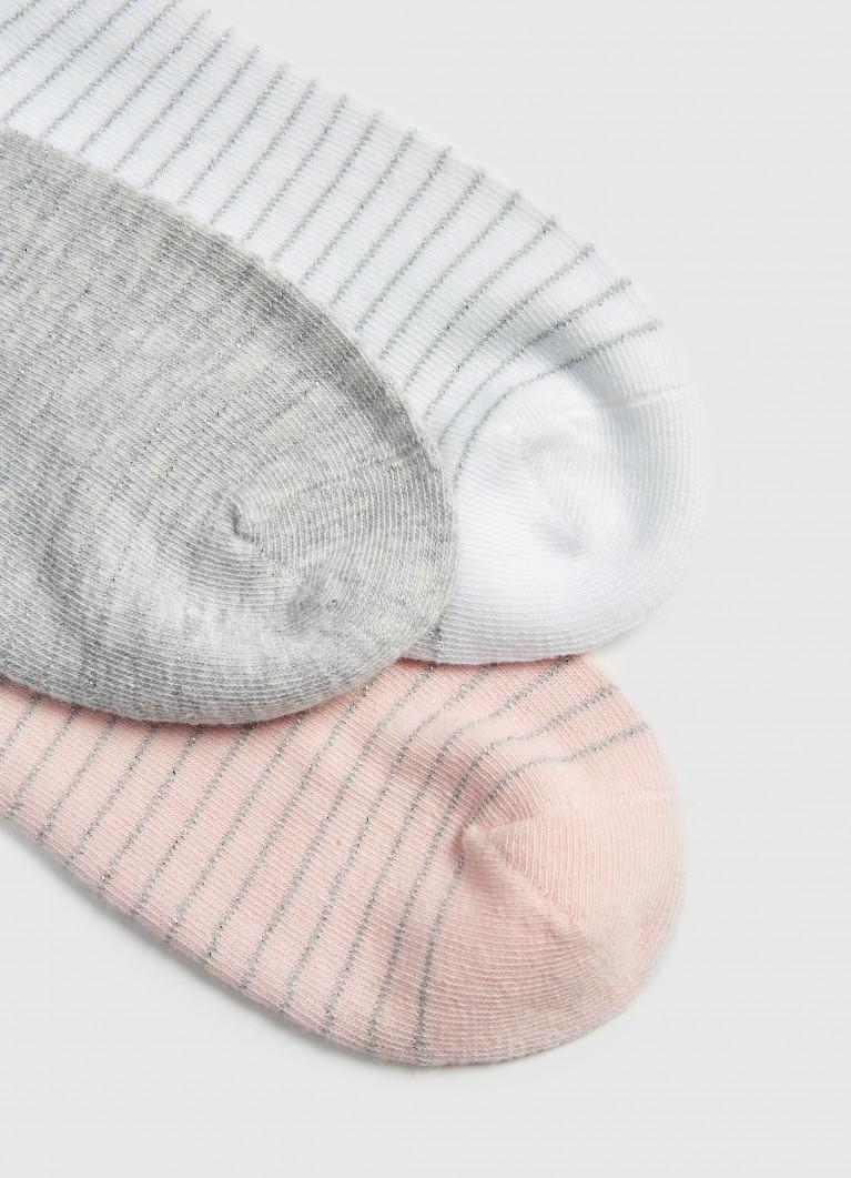 Комплект коротких носков с люрексными полосками
